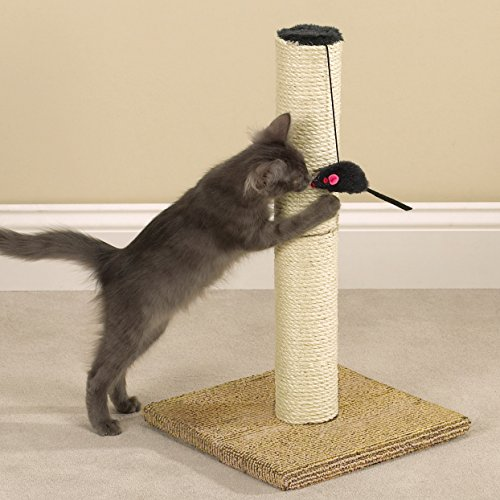 Meow Town Ultimate Scratch N' Stow Cat Scratching Post with Catnip Infused Mouse, 21-Inches High