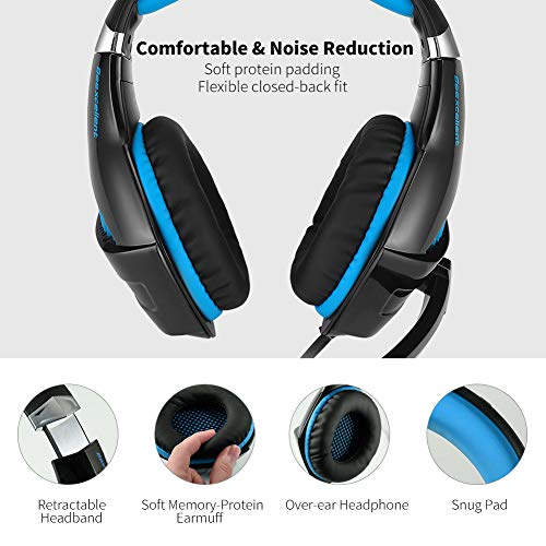 Selieve Gaming Headset for Xbox One, PS4, Nintendo Switch, PC, with Noise  Cancelling Mic, LED Light Bass Surround Soft Memory Earmuffs for