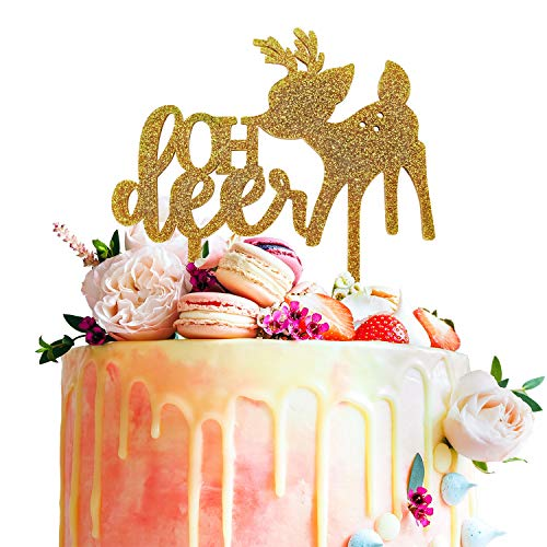 Oh Deer Fawn Gold Glitter Acrylic Cake Topper Woodland Baby Shower Forest Party Ideas -