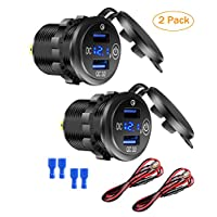 [2 Pack] 12V USB Outlet, Quick Charge 3.0 Dual USB Car Charger with Touch Switch and Voltmeter for 12V/24V Motorcycle Car Marine ATV Bus Truck and More