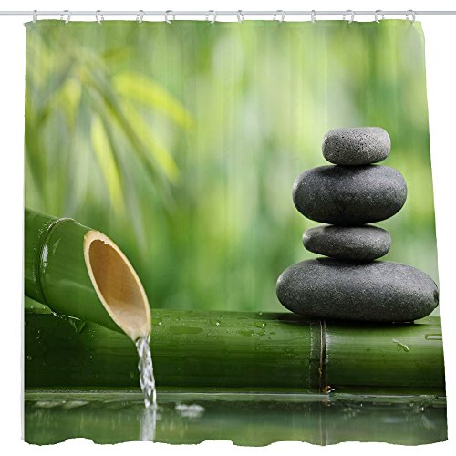 Bamboo Shower Curtain Rings - DJSBZ Shower Curtain Cloth Fabric Waterproof Non-Toxic Polyester Decoration Washing Room 12 Self Grommets Plastic Rings Zen Stone Garden Rocks Spa Bamboo Fountain Yoga 72x72 inch (180x180cm) (07)