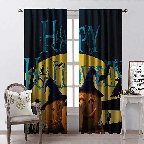 Hengshu Happy Halloween Pumpk Lantern Multicolor Room Darkening Wide Curtains Decor Curtains by W84 x L84]()