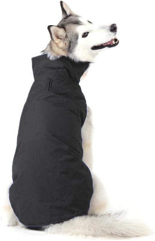 Bwiv Abrigos para Perros de Invierno Chaqueta Impermeable Forrado de Polar con Apertura para Correa Negro 5XL