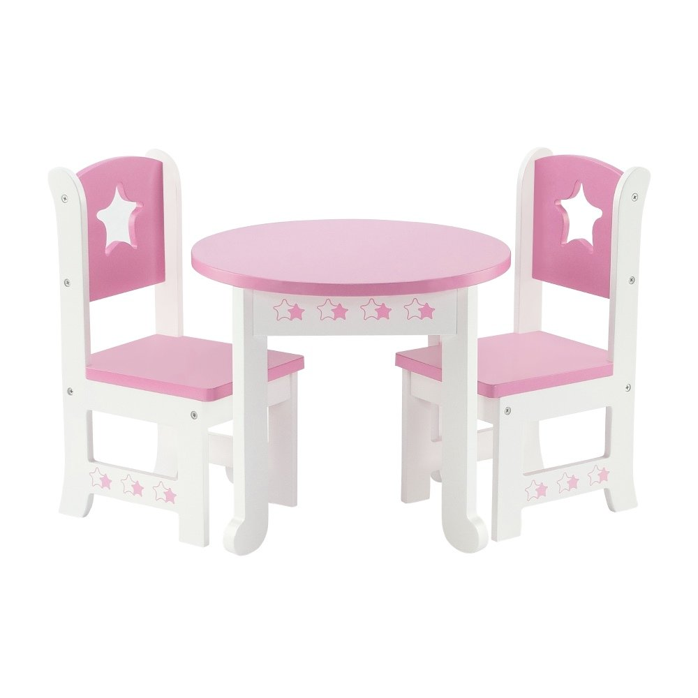 Amazoncom 18 Inch Doll Furniture Lovely Pink And White Table And