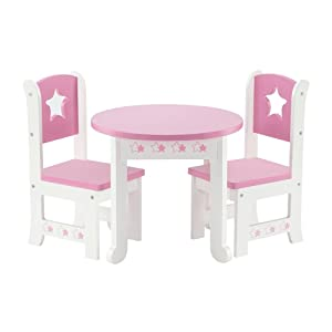 18 Inch Doll Furniture | Lovely Pink and White Table and 2 Chair Dining Set | Fits American Girl Dolls (Star Theme)