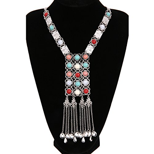 East Indian Halloween Costumes (Lianjie Antique Gold Silver Turquoise Beads Long Statement Bib Necklace Indian Jewelry for Women)