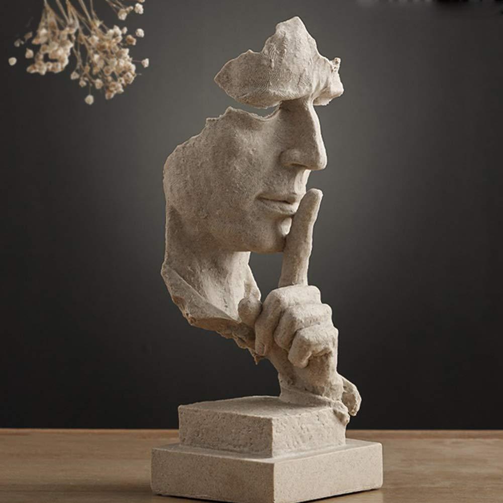Xiton Schweigen ist Gold Handcrafted schweigsame M/änner Statuen Harz Abstrakt Hand Gesicht Statuen und Skulpturen f/ür Haus Wohnzimmer Dekor 1Pc
