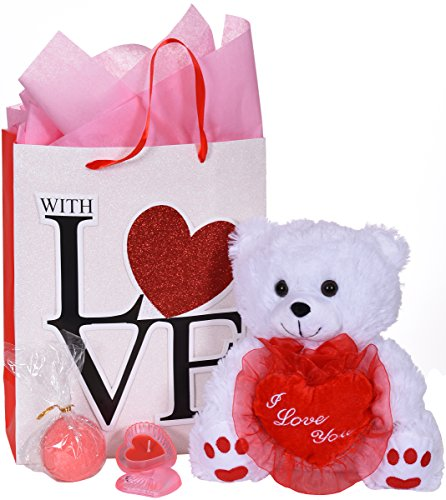 (AFC Women's Valentine's Day Teddy Bear Bath Bomb & Heart Shaped Candle Holder Premium Gift Bag)