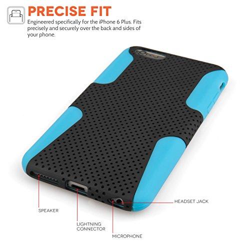 Yousave Accessories Tough Mesh Combo Silikon Cover Schutzhülle mit Stylus für iPhone 6Plus, blau/schwarz