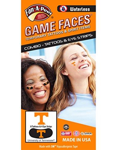 Tennessee Tattoos (University of Tennessee (UTK) Volunteers – Waterless Peel & Stick Temporary Tattoos – 12-Piece Combo – 8 Orange T Logo Spirit Tattoos & 4 Orange T Logo on Black Eye Strips)