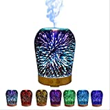 OOFAY Essential Oil Diffusers 3D Portable LED Glass Mist Humidifier with 7 Gradient Colors for Home Bedroom Living Room