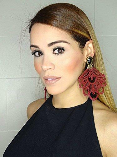 Amazon burgundy chandelier earrings big earrings lace burgundy chandelier earrings big earrings lace earrings dangle earrings handmade earrings statement mozeypictures Image collections