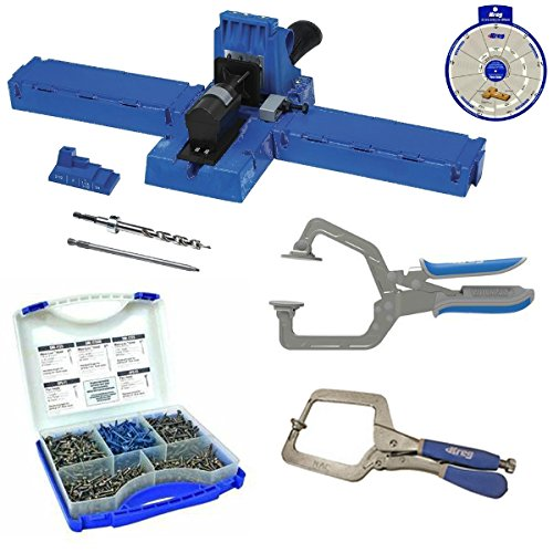 Kreg K5 Super Kit, K5 Jig, SK03 Screw Kit, KHC-1410 Automax Clamp, KHRC Right Angle Clamp,SSW Screw Selector by Kreg