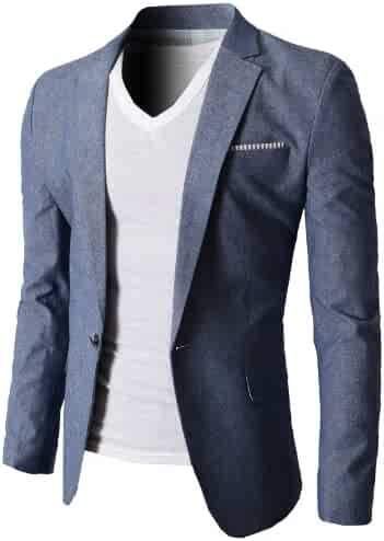 80754ede597 H2H Mens Slim Fit Suits Casual Solid Lightweight Blazer Jackets One Button  Flap Pockets