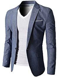 Mens Slim Fit Suits Casual Solid Lightweight Blazer Jackets One Button Flap Pockets