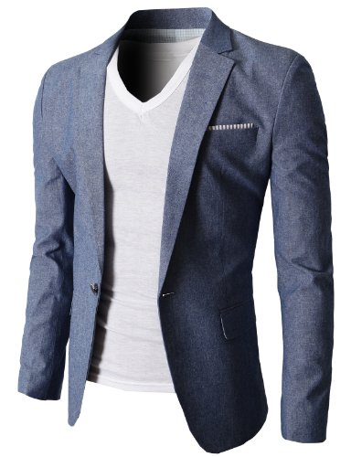 H2H Mens Fashion Gentleman Linen Slim fit Blazer Jackets Blue US XL/Asia 4XL (KMOBL061) ()