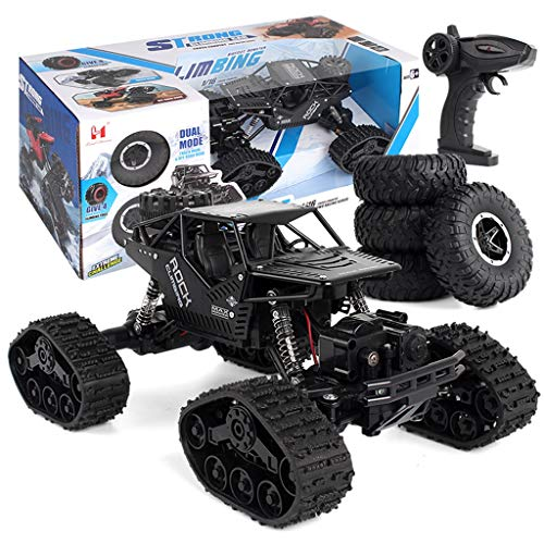 (Rc Cars Toys for Kids 1/16 Four-Wheel Drive Alloy Track Off-Road 360°Rotating Stunt Remote Controll Climbing Dual Mode Car LH-C012 (Black))