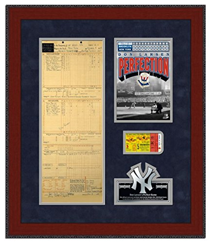Don Larsen Perfect Game Replica Scorecard & Ticketstub Framed Memorabilia 23 x 27in