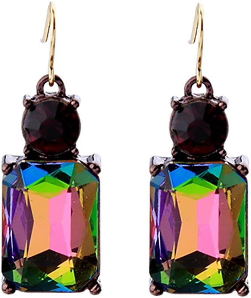 JUESJ Simple Colorful Crystal Geometric Square Stud Earrings for Girls Birthday Gifts