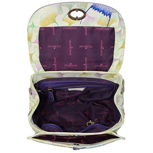 Flap Wings Leather Hand Painted Women'S Satchel Medium Anuschka Hope Off Hq46x