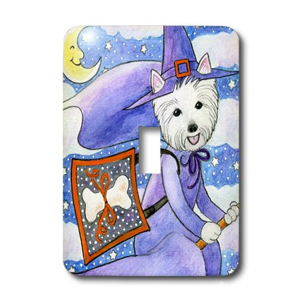 [3dRose Lsp_23301_1 West Highland Terrier Westie Westie In Costume Witch Halloween Halloween Westie Dog Single Toggle Switch] (Westies In Costumes)