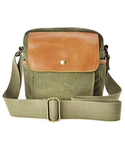 Small Leather Digital Camera Case - Travel Leather Canvas Camera Bag DSLR SLR case Shoulder Bag(Green)