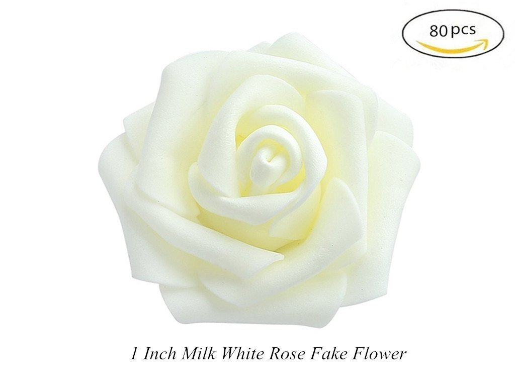 Amazon Artificial Fake Roses Flowers Heads In White For Bridal