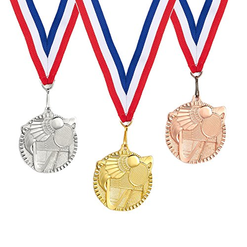 Diameter Ribbon (3-Piece Award Medals Set - Metal Olympic Style Badminton Gold, Silver, Bronze Medals for Sports, Games, Competitions, Party Favors, 2.3 Inches in Diameter with 32-Inch Ribbon)