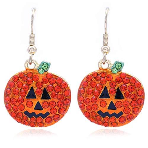 Happy Halloween Trick or Treat Jack-O-Lantern Pumpkin Earrings Dangle Drop Style