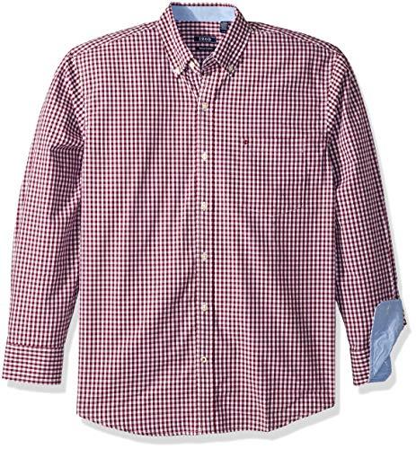 (IZOD Men's Premium Performance Natural Stretch Gingham Long Sleeve Shirt (Regular and Slim Fit))