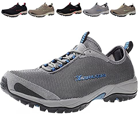 Mens Water Shoes Slip On Breathable Lace-up Lightweight Beach Walking Shoe, Laceup-grey, 12 D(M) US