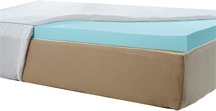 Natures Sleep AirCool IQ King Size 2.5 Inch Thick 3lb Density Gel Memory Foam Mattress Topper with Microfiber Fitted Cover and 18 Inch Skirt