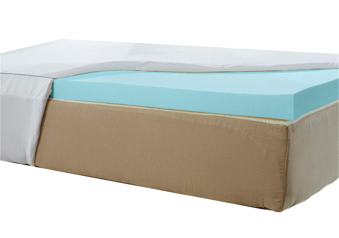 Natures Sleep Thick AirCool IQ Cal King Size 3 Inch Thick 3.25lb Density Gel Memory Foam Mattress Topper with Microfiber Fitted Cover and 18 Inch Skirt
