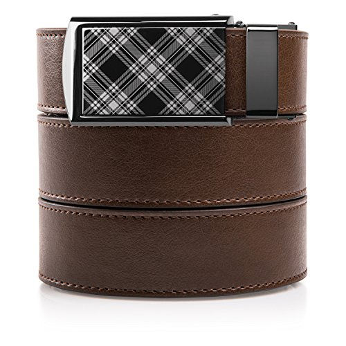 SlideBelts Men's Classic Belt with Premium Buckle (Mocha Brown Leather with Plaid Buckle (Vegan), One Size)