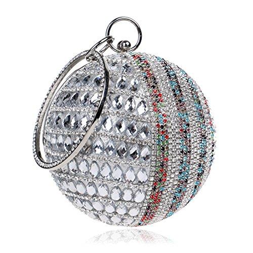 tout Lby Soirée couleur Silver Dîner Forfait Red Sac Rond Fourre Diamants pnqTRFw
