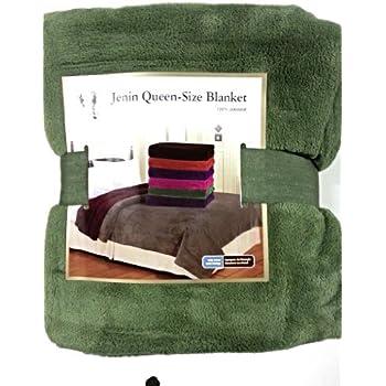 Amazon Com Queen Size Fleece Blanket Solid Sage Green