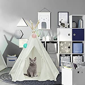Portable Teepee Bed for Doggy and Kitty - Pet Teepee Tent Durable White Cotton Canvas Style with Buttom Sewn on