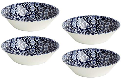 Queen's by Churchill Victorian Calico Floral Blue Soup/Cereal/Dessert Bowls, Made in England, 10-Oz. Capacity, Set of 4 (6