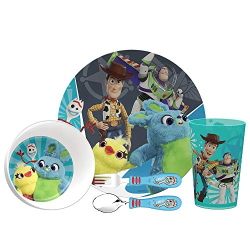 Zak Designs Toy Story 4 Movie Kids Dinnerware Set Includes Plate, Bowl, Tumbler and Utensil Tableware, Made of Durable Material and Perfect for Kids (Woody & Buzz Lightyear, 5 Piece Set, BPA Free) (Childrens Sets Melamine Dish)