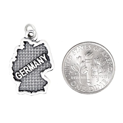 Sterling Silver Oxidized Travel Map of Germany Charm by Lgu (Image #1)