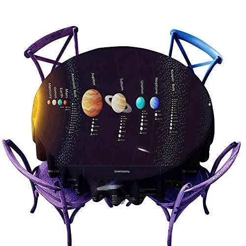 Zodel Indoor/Outdoor Round Tablecloth,Outer Space Solar System Scientific Information Jupiter Saturn Universe Telescope Print,Modern Minimalist,50 - Jupiter Side Table Modern
