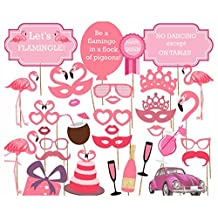 Flower.Princess Photo Booth Props DIY Kit for Birthday Party Wedding & Photobooth Reunions Dress-up Costume Accessories With Flamingo 32 PCS