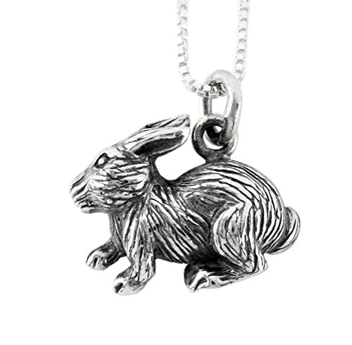 Sterling Silver Chinese Zodiac Rabbit Charm Necklace, 18