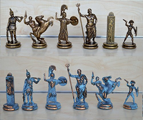 Chess Copper (Manopoulos Greek Mythology X-Large Chess Set - Blue-Copper - Handmade in Greece)