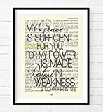 My Grace is Sufficient for You- 2 Corinthians 12:9 Christian UNFRAMED reproduction Art PRINT, Vintage Bible verse scripture wall & home decor poster, Inspirational gift, 8x10 inches