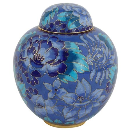 Silverlight Urns Azure Blue Cloisonne Extra Small Urn, Enameled Metal Urn for Human Ashes, 5 x 4 inches