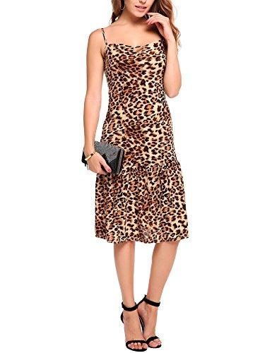 ANGVNS Women Sexy Sleeveless Spaghetti Strap Keyhole Leopard Ruffled Hem Dress  Yellow  Medium (Animal Print Cocktail Dress)