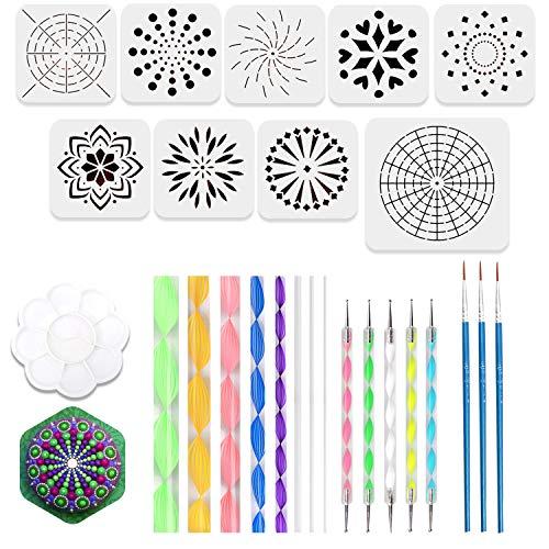26pcs Mandala Dotting Tools for Rock Painting, Coloring with 9 Mandala Dotting Stencils, 8 Acrylic Sticks, 5 Double Sided Dotting Tools, 3 Brushes and 1 Paint - Rock Beautiful