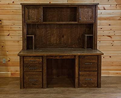 Barn Wood Style Timber Peg Executive Desk with Hutch- Amish Made USA