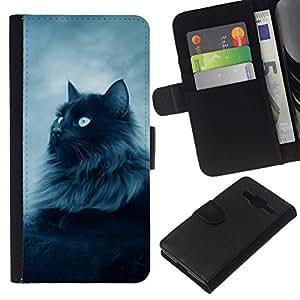All Phone Most Case / Oferta Especial Cáscara Funda de cuero Monedero Cubierta de proteccion Caso / Wallet Case for Samsung Galaxy Core Prime // Majestic Forrest Black Cat